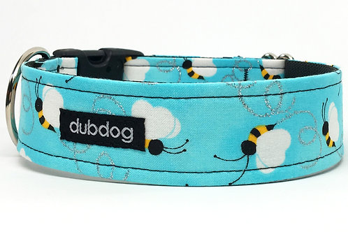 Novelty bumble bees on blue handmade dog collar Bumble