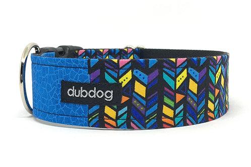 Modern royal blue & multi-colored graphics handmade dog collar Morty