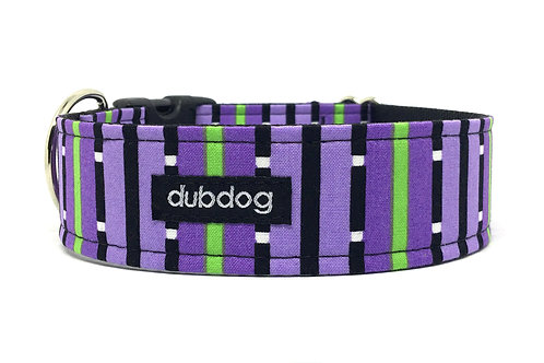 Modern purple & black stripes handmade dog collar Laggie