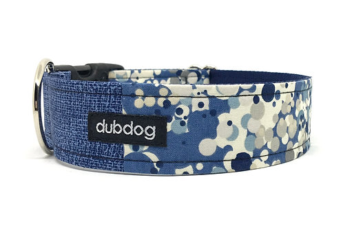 Modern denim blue with dots handmade dog collar Levi
