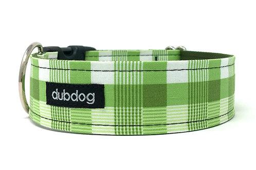 Preppy green plaid handmade dog collar Kelly