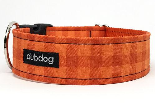 Classic pumpkin orange check handmade dog collar Canyon Check