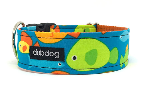 Novelty colorful fish on blue handmade dog collar Go Fish