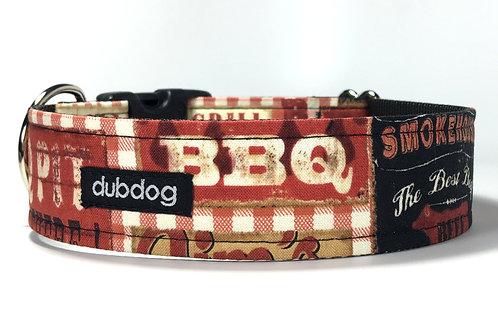 Novelty barbeque themed handmade dog collar Bark-B-Que