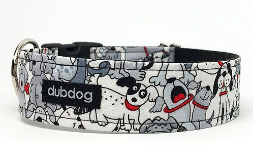Novelty black white & red dogs handmade dog collar Adopt Love
