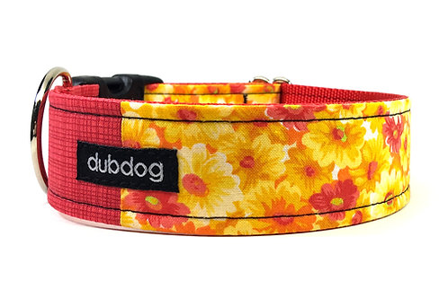 Pretty red yellow & gold flowers handmade dog collar Marigold