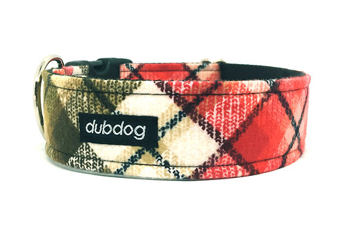 Flannel red & olive green handmade dog collar Pappy