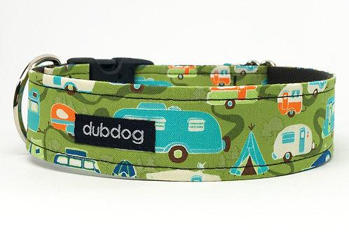 Novelty retro campers & trailers handmade dog collar Happy Camper