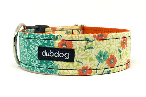 Pretty cool green & orange flowers handmade dog collar Emma
