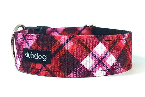 Modern red & pink plaid handmade dog collar Ruby