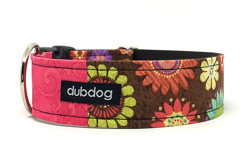 Pretty watermelon & brown with flowers handmade dog collar Taylor