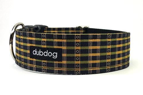 Preppy black olive & gold handmade dog collar Hamilton