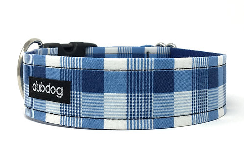 Preppy blue plaid handmade dog collar Blu