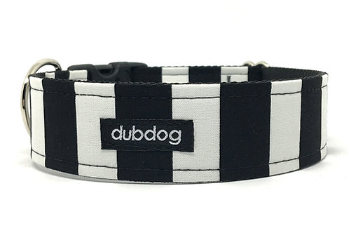 Classic black & white stripe handmade dog collar Dub-stripe