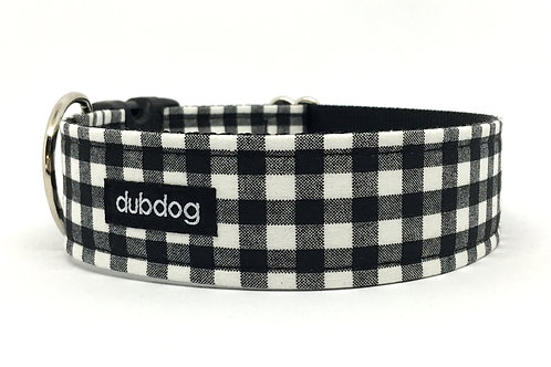 Classic black & white check handmade dog collar