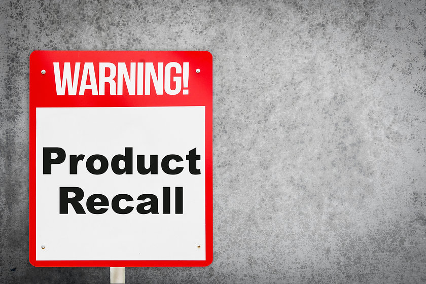 Product Recall problem warning signage f