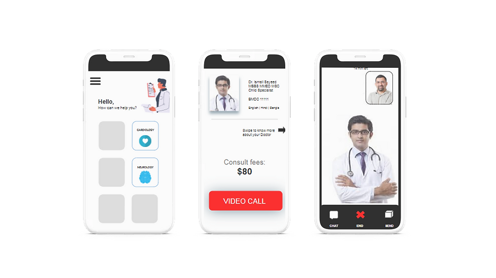 VIOS android app mockup shpwing the workflow wireframe of the vios patient app that can be used for telemdicine consultations by choosing on demand healthcare specialists to see their consult fees and start a video chat using twilio anf pay online with stripe digital payments quickly and safely on your android smartphone