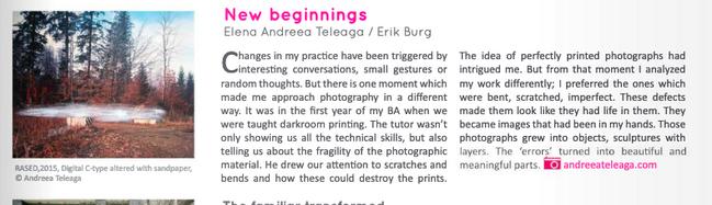 Photopedagogy Newspaper feature, 2018