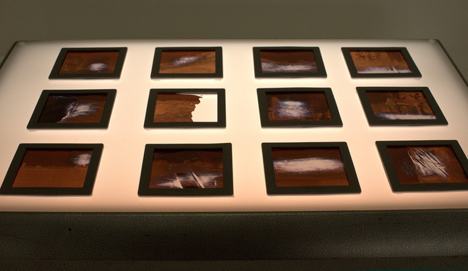 Medium format negatives of the photographs, destroyed during the processing and altered with sandpaper in the end