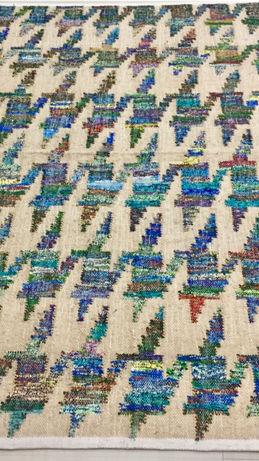 Beige-Blue Handwoven Flatweave Rug By Rugs.Usv