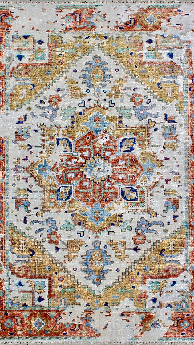 Creamy Brown Hand-Knotted Rug by Rugs.Usv