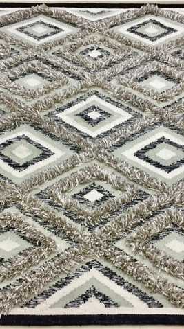 Brown-Border, Grey & White Handwoven Shag Rug By Rugs.Usv
