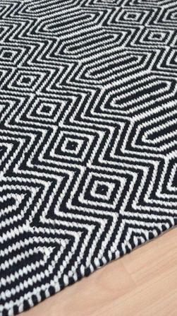 Black & White Pattern - Hand Loom Handwoven Rug By Rugs.Usv