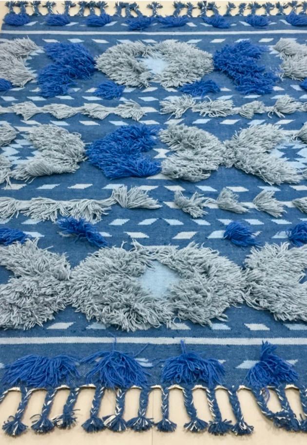 Handwoven Blue & Grey Shag Rug By Rugs.Usv