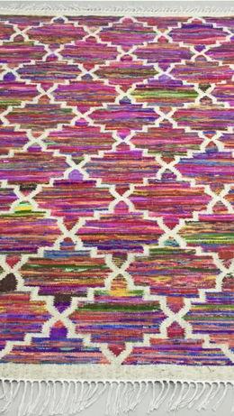 Multi-Coloured Handwoven Flatweave Rug By Rugs.Usv