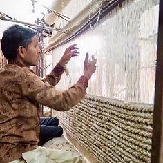 Indian Weaver on a Panjaloom Rugs.USV handmade rug