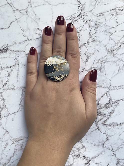 Marble black fusion - ring