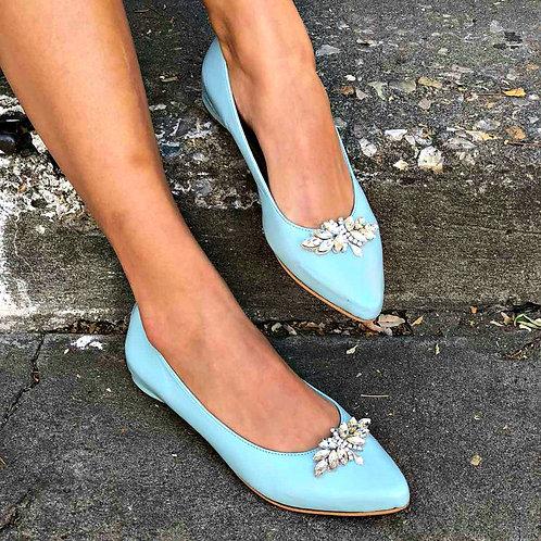 Clara Light Blue| Rhightstone Pointy Toe Flat