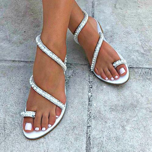 Silver Swan | White Wrapped Sandal