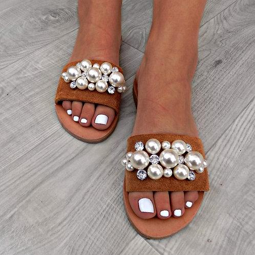 Vogue Pearl | Flat Suede Sandal