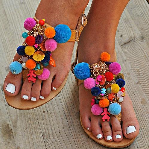 Colour Passion   T- Strap Flat Sandal