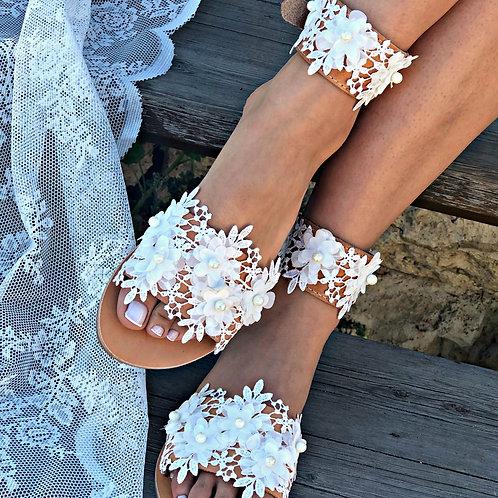 Almond Bloom | Anklet Flat Sandal