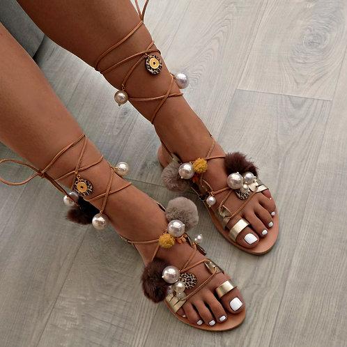 Leopard Chic | Tie Up Gladiator Sandal