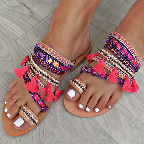 Morrocan Purple   Flat Sandal