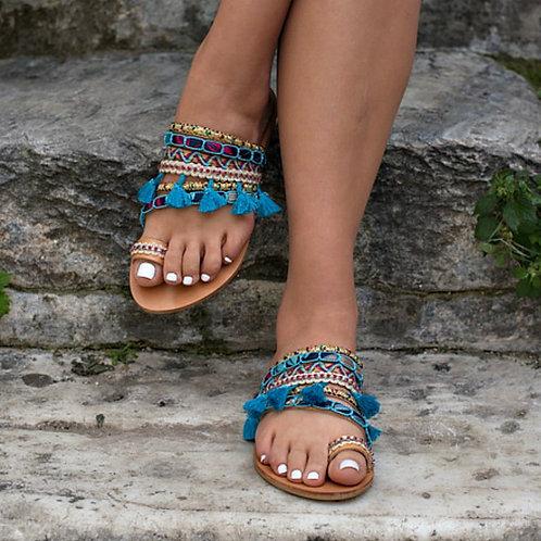 Morrocan Blue   Flat Sandal