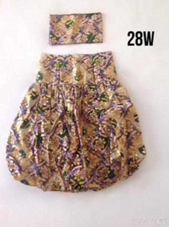 "2 piece ""Chitenge"" skirt and head wrap/headband"