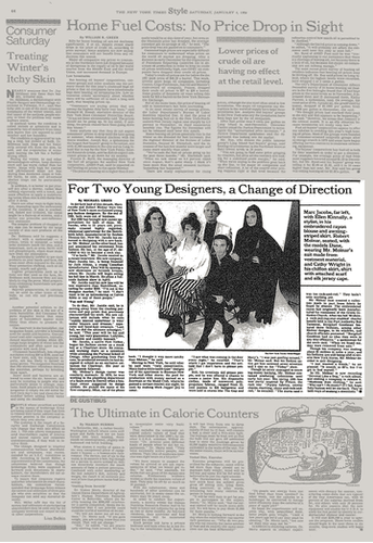 NEW YORK TIMES 1986 - FOR TWO YOUNG DESIGNERS, A CHANGE OF DIRECTION