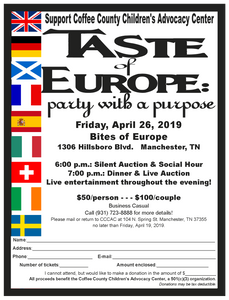 Taste of Europe- Party with a Purpose, Friday, April 26th at Bites of Europe.  Event starts at 6 PM with a social hour and silent auction.  Dinner and live auction begins at 7 PM.  There will be live entertainment throughout the evening.  $50 per person. Call 723-8888 for tickets.