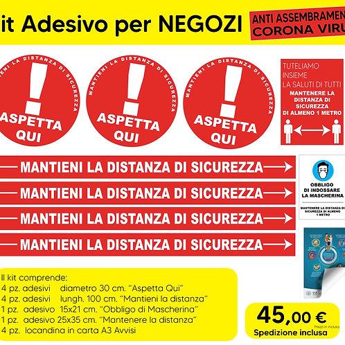 Kit Adesivi per Negozi Anti Assembramento