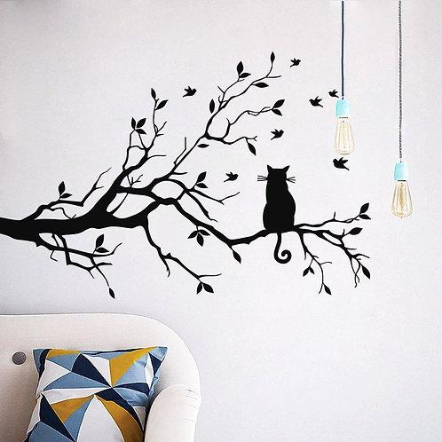 """Adesivo murale """"gatto sull'albero""""200x100cm."""