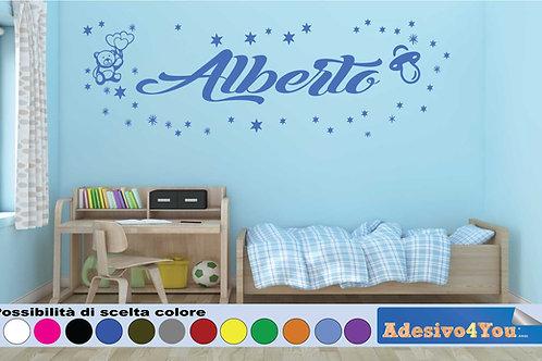 Adesivi Murali Bambini Nome personalizzato con Orsetto, stelline e Albero.