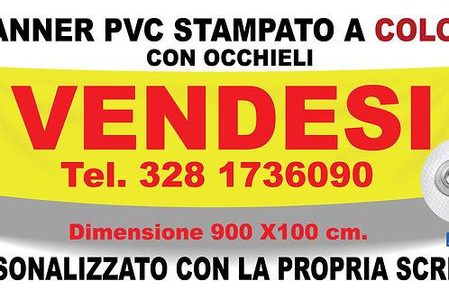 Striscione Pvc Banner Personalizzato Stampato in Quadricromia e Occhiellato