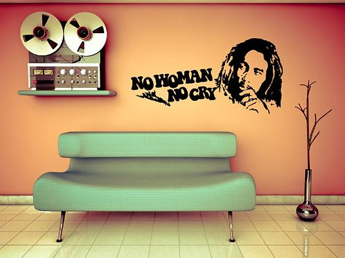"Adesivo murale Bob Marley cit. ""No Woman No Cry"" wall sticker."