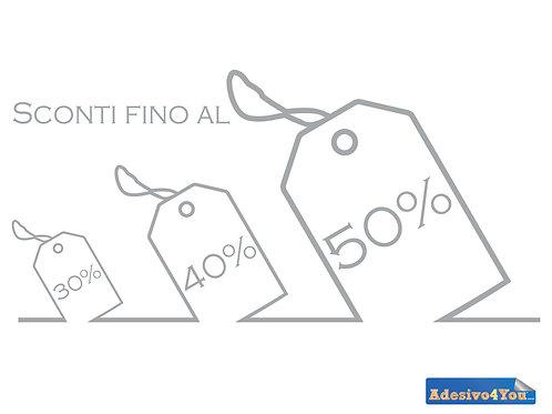 """Adesivo per vetrofanie dei negozi """"cartellini sconti"""" 50x24 cm"""