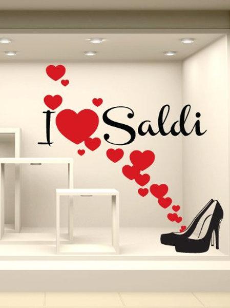 "Adesivi Murali Vetrofania saldi ""I love saldi 2"" - Misure 50x50 cm. cm"