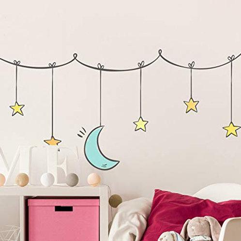 Adesivo murale per le camere dei bambini con luna e stelline 100x50cm Adesivo4Yo
